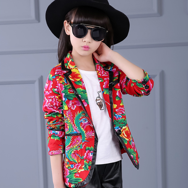 New 2018 Spring Autumn Kids Girls Coats Jackets Baby Girl Floral Print Jackets Blazers Children Clothing Fashion Outwear Coat