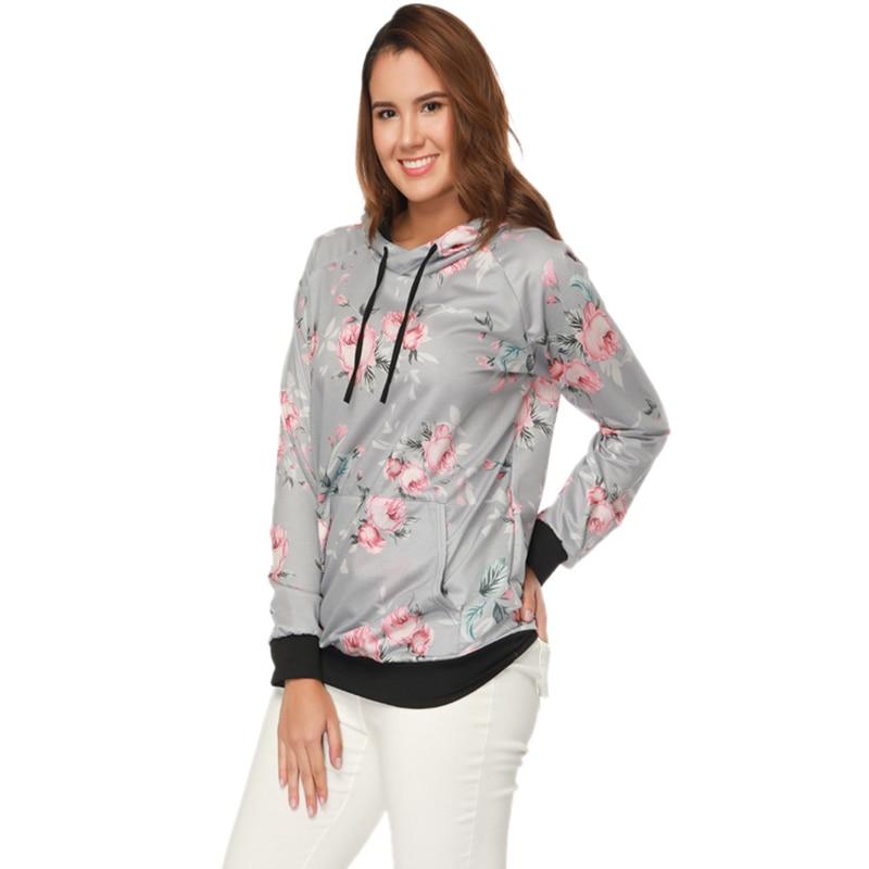 2018 Autumn Fashion Womens Hoodies Long Sleeve Sweatshirt Women Hooded Floral Print Gray Ladies Pullover Female Striped Tops 3XL