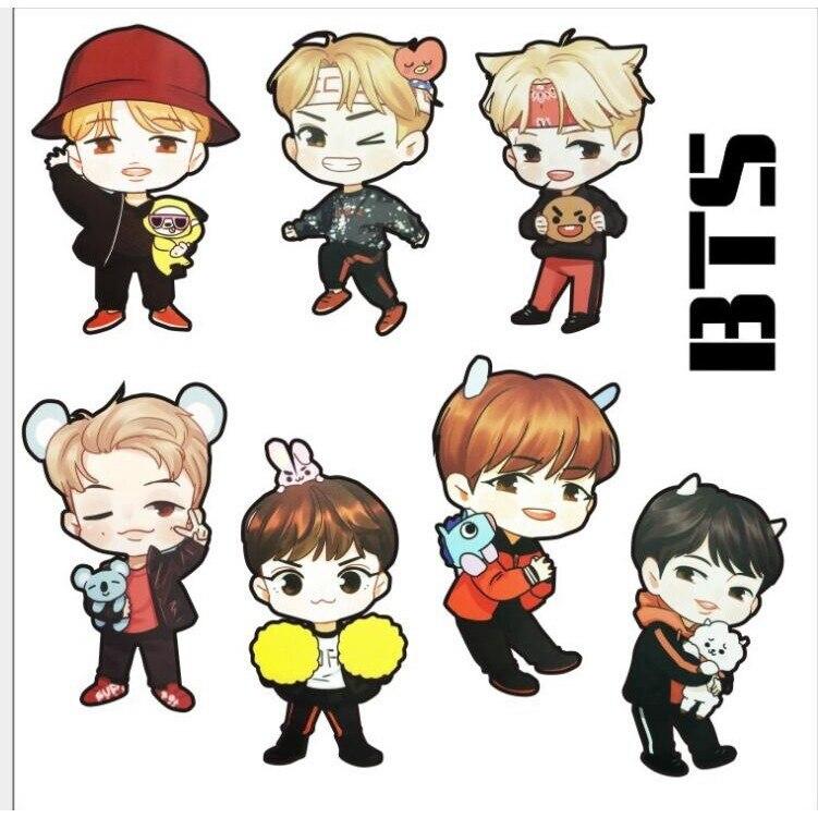 Kpop BTS SUGA J hope cartoon sticker action figure toys for kids birthday gift