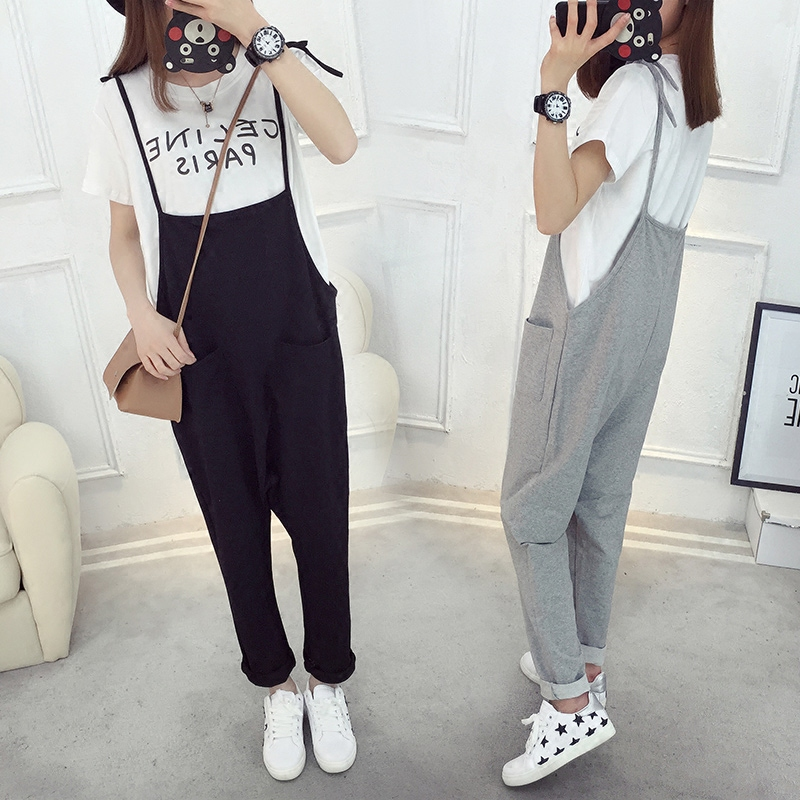 09e6d8db537 Maggie s Walker Maternity Female Bib Pants 2017 Spring Summer Large Size  Loose Trousers for Pregnant Women