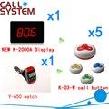 Pager Sistema de Chamada de Campainha sem fio Com O Melhor Preço de Desconto de 433.92 MHZ Para O Restaurante Pager (1 display + 1 relógio + 5 botão de chamada)