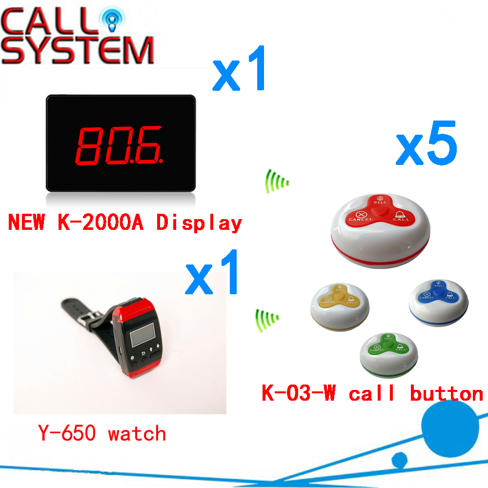 Wireless Calling Buzzer Pager System With Best Price Discount 433.92MHZ For Restaurant Pager( 1 display+1 watch+5 call button ) restaurant pager watch wireless call buzzer system work with 3 pcs wrist watch and 25pcs waitress bell button p h4
