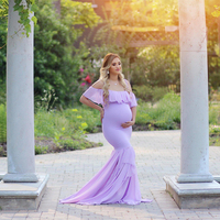 Mermaid Maternity Dresses For Photo Shoot Pregnant Women Pregnancy Dress Photography Props Sexy Off Shoulder Maxi Maternity Gown