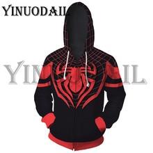 цена на Spiderman Cosplay Costume Sweatshirt Hooded Uniform Zipper Men Hoodie Sweatshirt Men