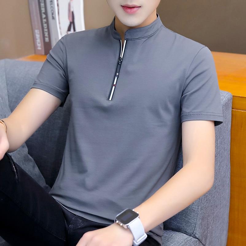 Liseaven T-Shirt 2019 Men's Short Sleeve tshirts Mens Tee Shirts Turn-down Collar Tees Men's Clothing