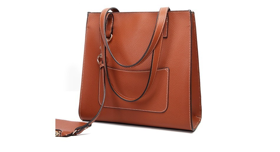 2Pcs Composite Bag Women Solid Leather Shoulder Bags Women\\'S Casual Tote Bag Designer Female Bucket Handbags