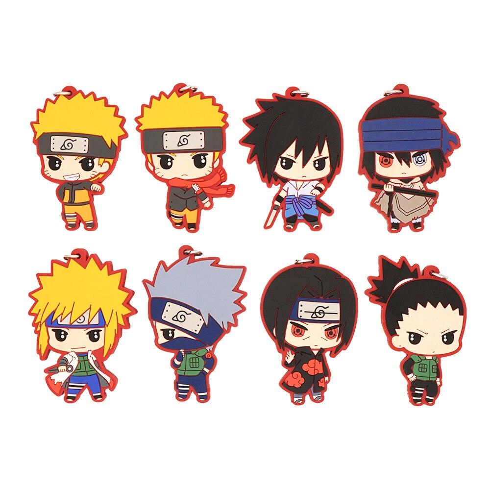 Naruto Anime Sasuke Hatake Kakashi Uchiha Itachi Namikaze Minato Nara Shikamaru Anime Rubber Keychain