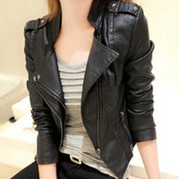 Women Fashion Faux Leather Jacket Turn Down Collar Short Coat Slim Fit Top