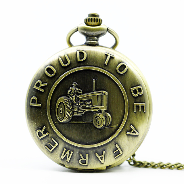 Antique Farmer Car Tractor Quartz Pocket Watch Vintage Steampunk Fob Watches Men Women Necklace Pendant Clock Time With Chain