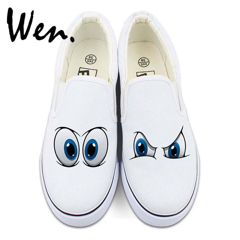 Wen Original Design Cartoon Eyes 2 Colors Slip on Hand Painted Shoes Custom White Black Canvas Sneakers for Man Woman