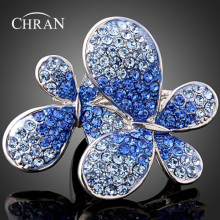 CHRAN Rhodium Plated Crystal Party Jewelry Rings Ladies Gifts Classic Charm Butterfly Design Finger for Women