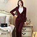 Senhoras duas Peças Terno Calça Formal Uniforme Escritório Projeta Mulheres de Negócio Ternos Blazer Vermelho Para O trabalho