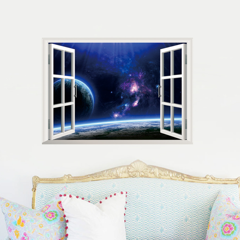 Outer Space Earth 3d Window Wall Stickers Graphic Home Living Room Bedroom Decoration Pvc Outer Stars Kids Room Mural Art Poster