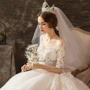 Image 3 - Amanda Design mariage Half Sleeve Lace Appliqued Beading Wedding Dress