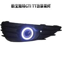 eOsuns COB angel eye led daytime running light DRL + Fog Light + Projector Lens + fog lamp cover for opel astra GTI TT GTC
