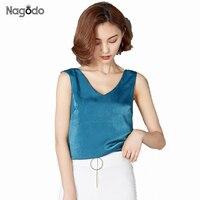 NAGODO Silk Tank Top Women 2017 New Satin V Neck Sexy Summer Tops Vest Loose Blouses