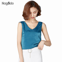 NAGODO Silk Tank Top Women 2017 New Satin V Neck Sexy Summer Tops Vest Loose Blouses
