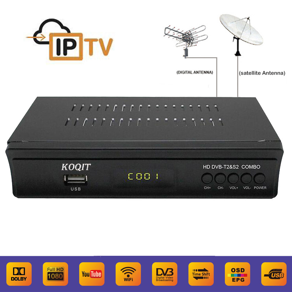 Europe FTA Terrestrial DVB-T2 DVB-S2 Combo Satellite Receiver ac3 iptv m3u Player CS Protocol Power Key Cccam Youtube 3G Wifi