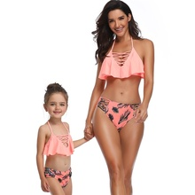 Mother And Daughter Swimsuit Mom Child Bikini Family Matching Clothes Ruffled Cross With Low Waist Print
