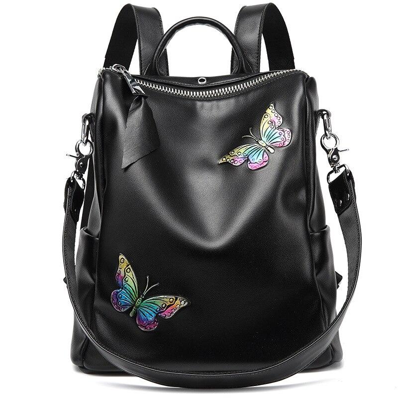 2019 sac à dos en cuir véritable pour femme sac à dos Anti-vol broderie papillon sac à dos femme sac à bandoulière en cuir véritable
