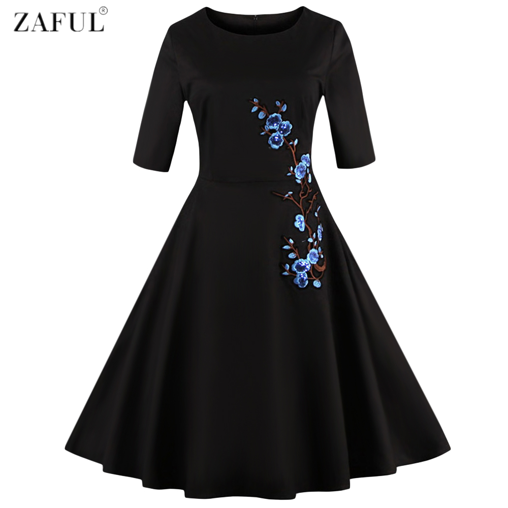 Zaful women simple plum flower embroidery vintage dress