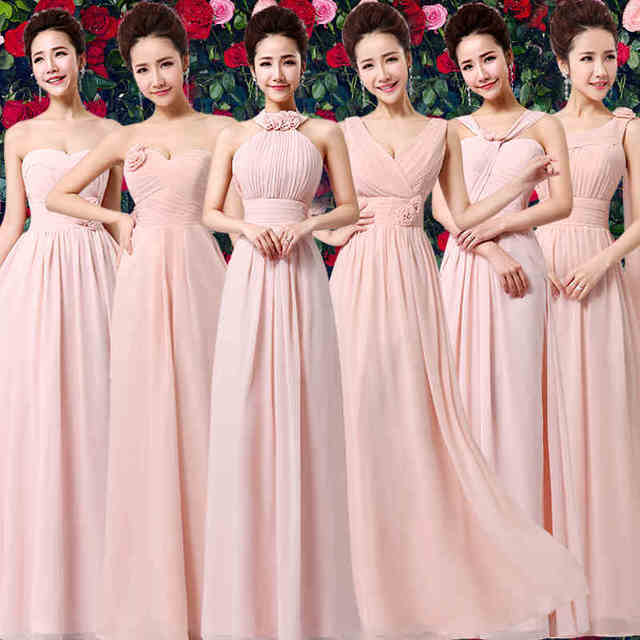 41f74e2e00c Dusty Pink Chiffon Bridesmaid Dress Cheap Floor-length Wedding Guest Maid  of Honor Dress For Party Corset Bridesmaid Dresses