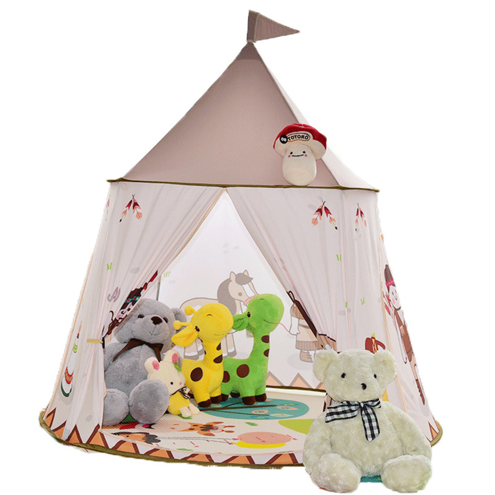 цена на 116*116*123 CM Cute Cartoon Character Animal Leaf Print Mosquito Net Castle Tent Children Baby Indoor Outdoor House Room Toys