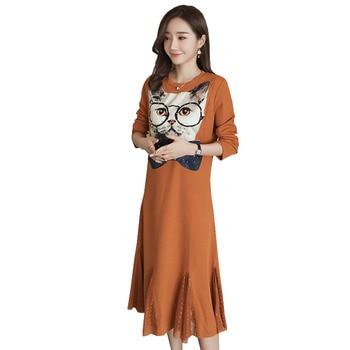 abd68864f Manga larga Vestido de maternidad de enfermería para las mujeres  embarazadas ropa lactancia otoño impresión Vestido Gravida embarazo ropa