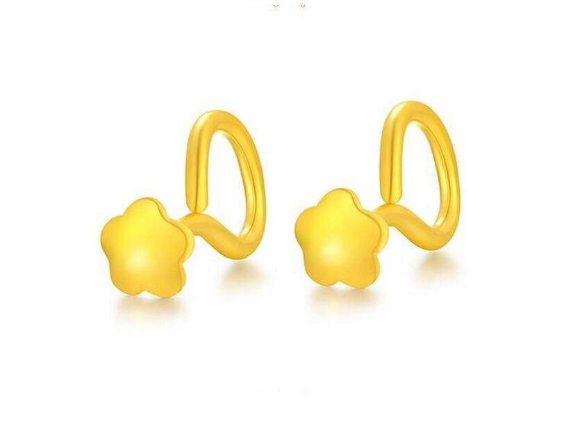 все цены на Fashion New 999 24K Yellow gold Flower Stud Earrings 0.91g онлайн