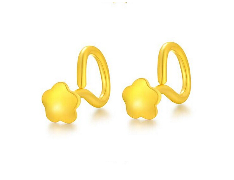 Fashion New 999 24K Yellow gold Flower Stud Earrings 0.91g