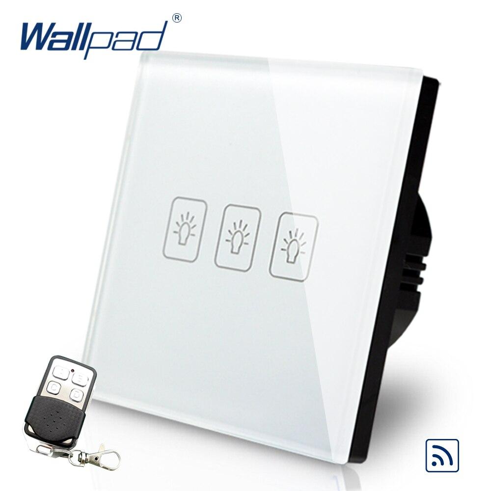 3 Gang Gradateur Télécommande Tactile Commutateur Wallpad De Luxe Blanc Cristal En Verre Interrupteur Mural Avec Télécommande 433.92 mhz