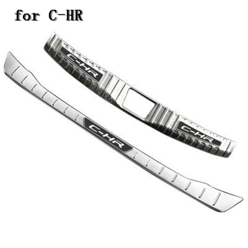 Car-covers Stainless Steel Internal external car Rear Bumper Protector Sill for Toyota C-HR CHR 2016 2017 2018 Car styling stainless steel door lock decoration protection cover emblem case for toyota c hr chr 2016 2017 2018 accossories car styling