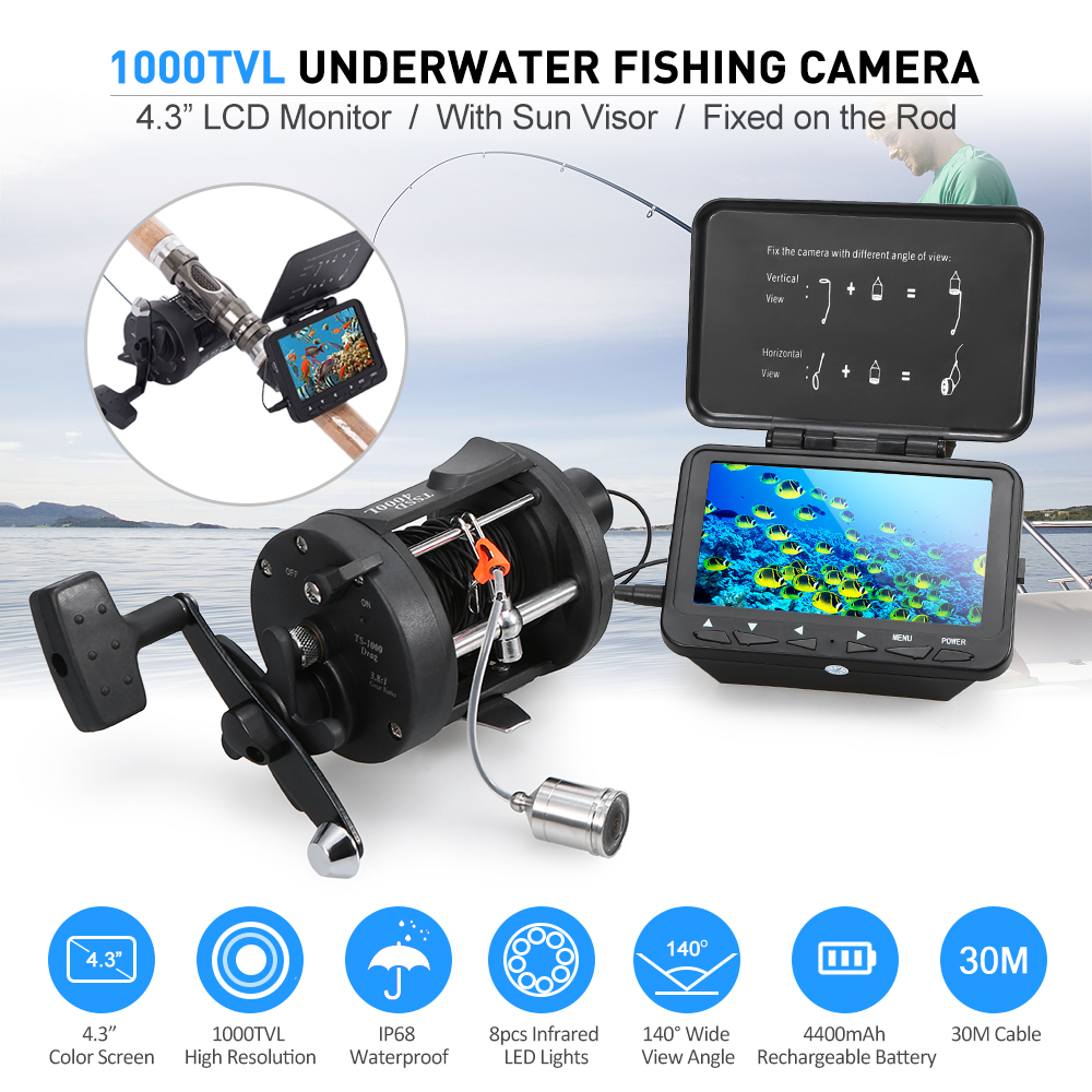 1000TVL Ice Fishing Underwater Camera 4 3 LCD Monitor 8 Infrared IR LEDs Fish Finder with