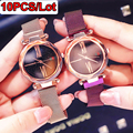 10 Pieces Women's Watches Wholesale Luxury Ladies Watch Creative Starry Sky Dial Magnetic Stainless Steel Mesh Strap Wrist Watch