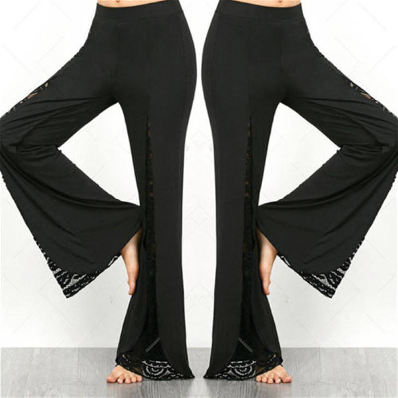 New Grance Women Lace Long Pants Fashion Hollow Out Wide Leg Trousers Casual Loose Solid Wide Leg Trousers High Waist Plus Size