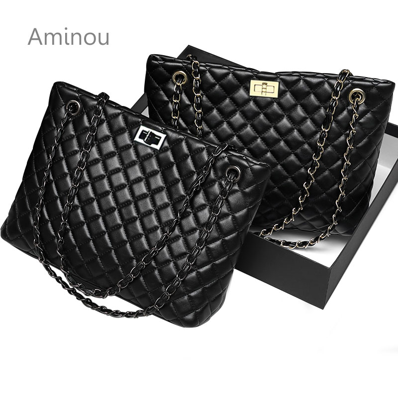 2019 Luxury Brand Women Plaid Bag Large Tote Bag Female Handbags Designer Black Leather Big Crossbody Chain Messenger Bag Ladies