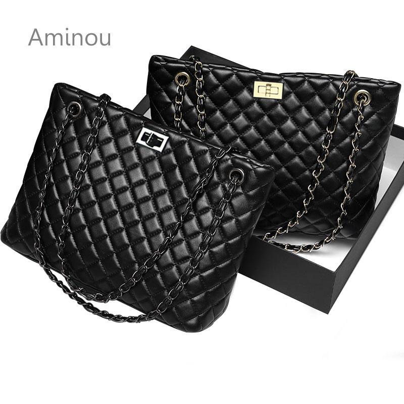 2019 Luxury Brand Women Plaid Bag Large Tote Bag Female Handbags Designer Black Leather Big Crossbody Chain Messenger Bag Ladies