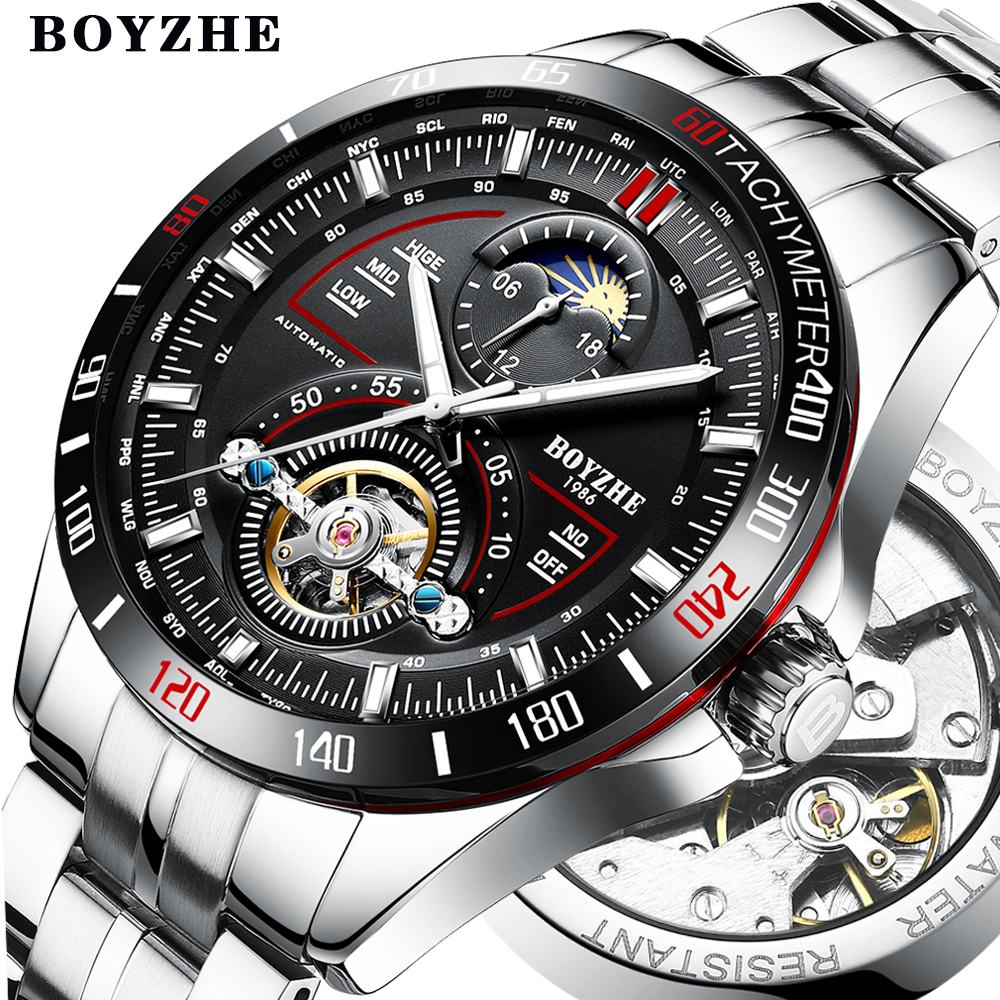 BOYZHE Mens Automatic Mechanical Fashion Top Brand Sports Watches Tourbillon Moon Phase Stainless Steel Watch Relogio Masculino