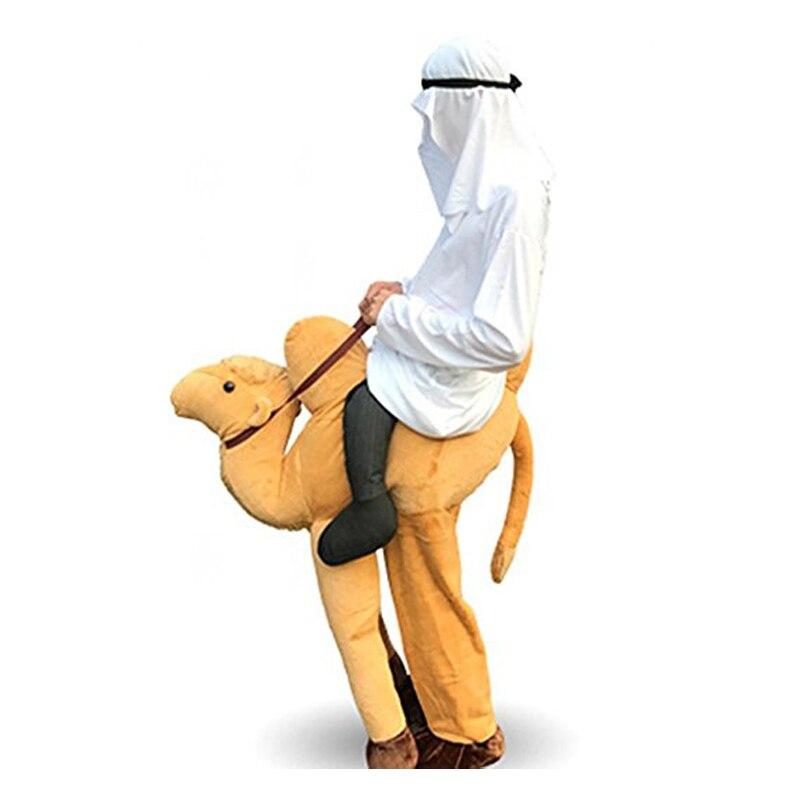 Camel Ride On Costumi Della Mascotte Uomini Piggy Back Oktoberfest Velour Cammello Carrier Costume Animale Pantaloni del Vestito Divertente Giallo Mardi Gras