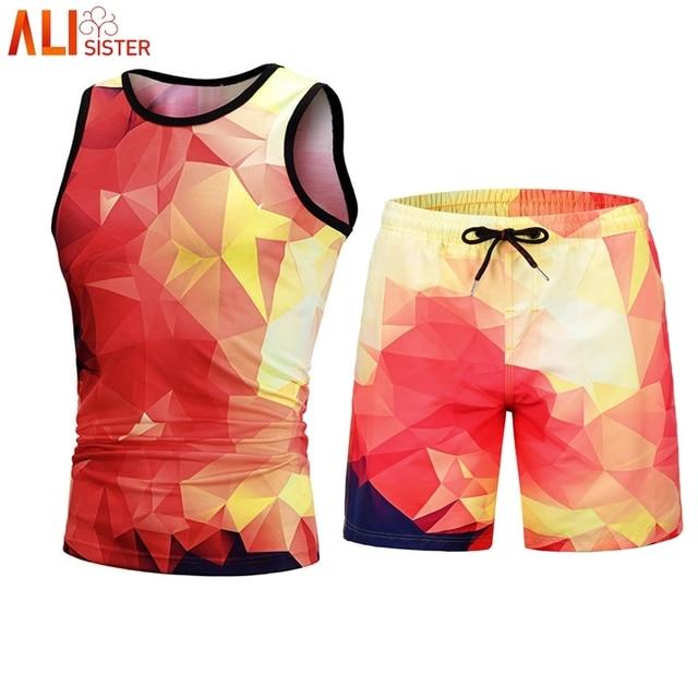 5cca239ba4cf Alisister Block Print Suits Tank Top Shorts 2 Pieces Set Mens Summer  Tracksuit 3d Print Sleeveless Vest Short Pants Suits Male