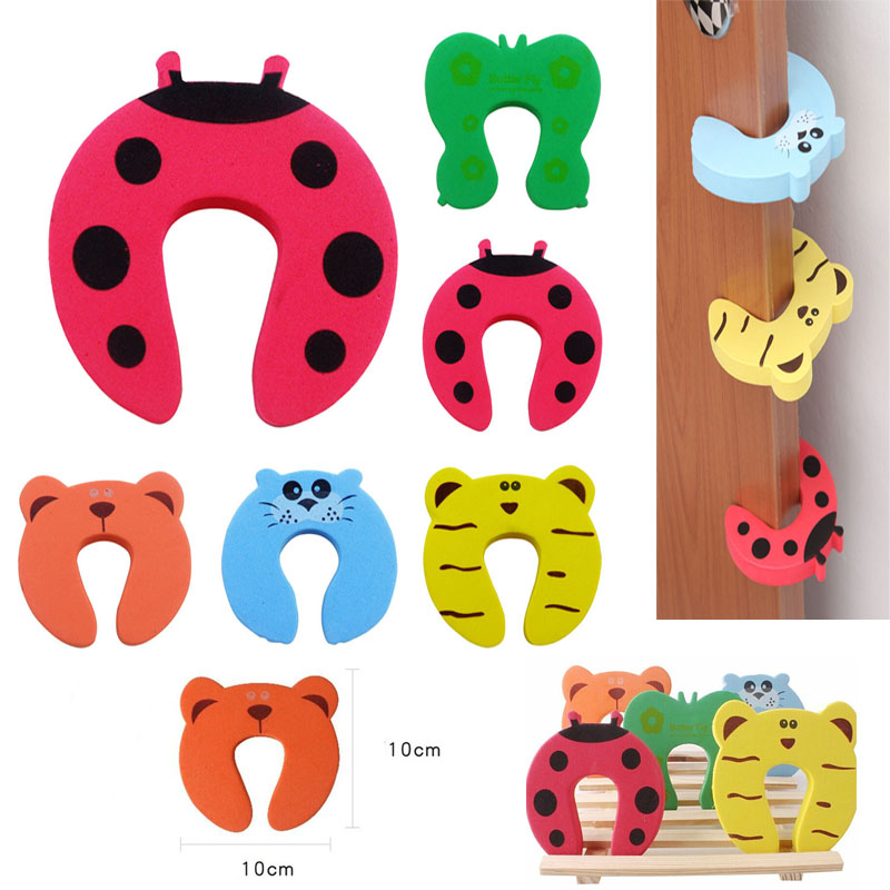 10pcs/lot Child Kids Baby Animal Cartoon Door Jammers Stop Stopper Holder Lock Safety Guard Finger Atrq0073