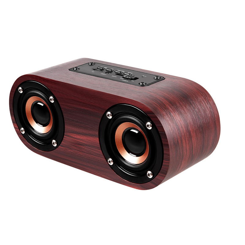 Q8 Wooden Bluetooth Wireless Speaker Sound System 3D Stereo Music Surround audio Support TF AUX in Portable Speakers from Consumer Electronics