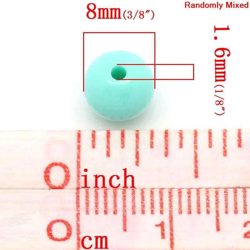 """DoreenBeads アクリルスペーサービーズラウンドパステルランダムな色で Diy のメイキングジュエリー 8 ミリメートル (3/8 """") 径、穴: 約 1.6 ミリメートル、 75 個新"""