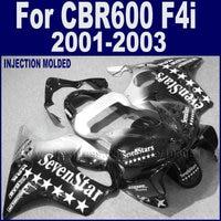 7gifts Road fairings kit for Honda 2001 2002 2003 black sevenstars CBR 600 F4i 01 02 03 cbr 600 f4i aftermarket body fairing set