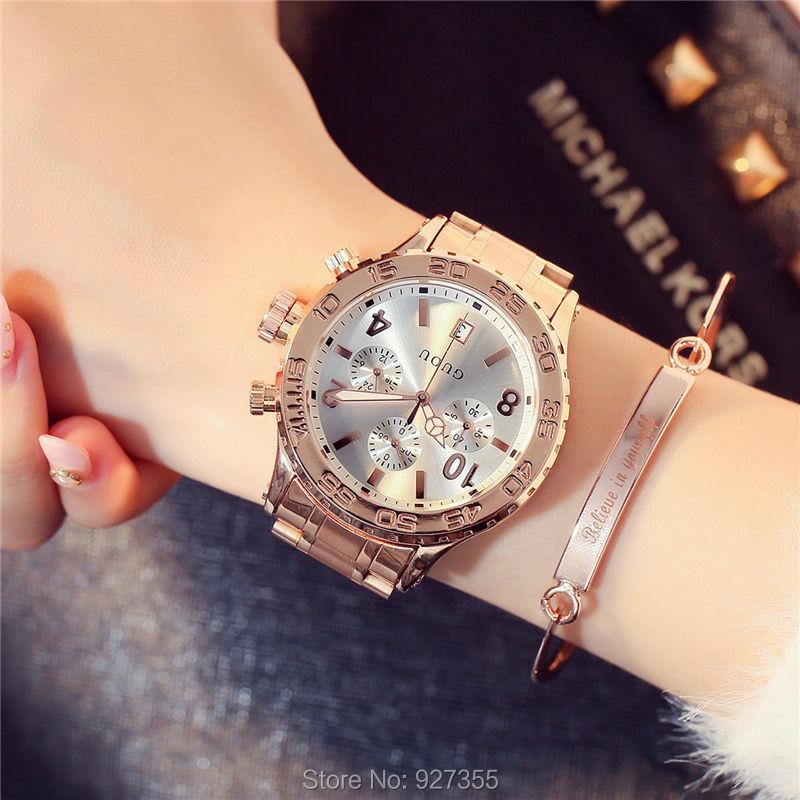 2017 New GUOU Watch Fashion Women Calendar Rose Gold Quartz Watch Six pin Retro Big Dial Female Multifunction Waterproof Clocks