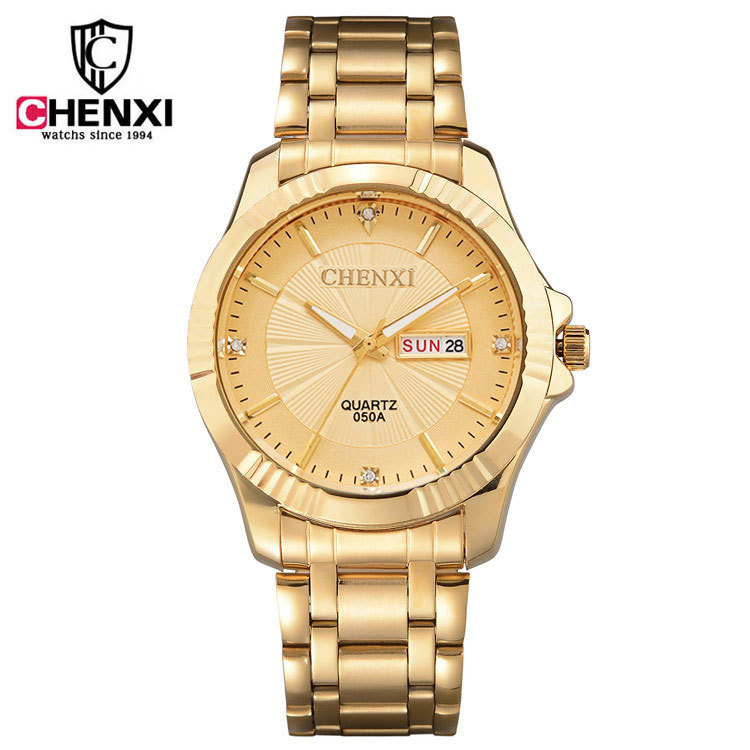 2018 CHENXI Gold Watch Men Women Luxury Business Man Watch Golden Waterproof Fashion Casual Calendar Quartz Male Dress Clock