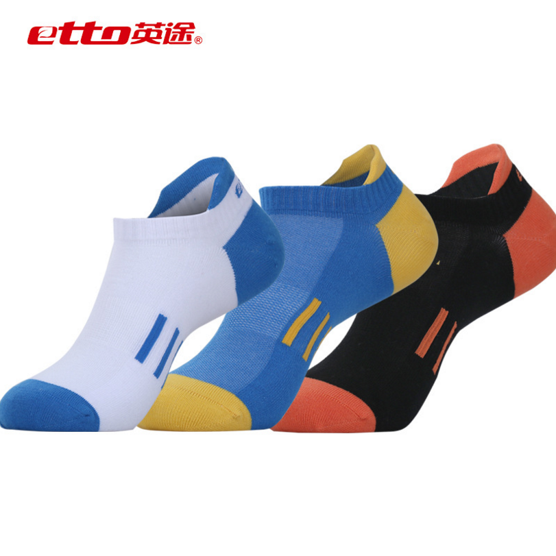 Etto 3 Pairs / Lot Cotton Sports Socks Slippers Men Absorb Sweat Deodorant Athletic Sox Basketball Cycling Running Socks SO020
