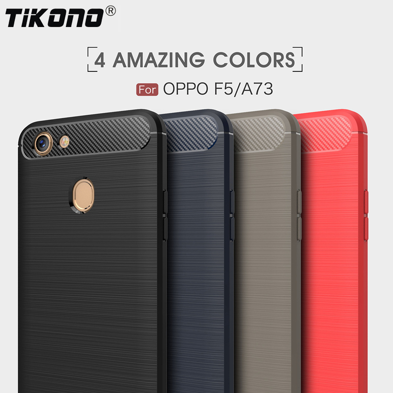 TIKONO For OPPO A73 Case OPPO F5 Cover Soft Silicone Carbon Fiber Shockproof Brushed Back Cover For OPPO F5 A73 Phone Cases