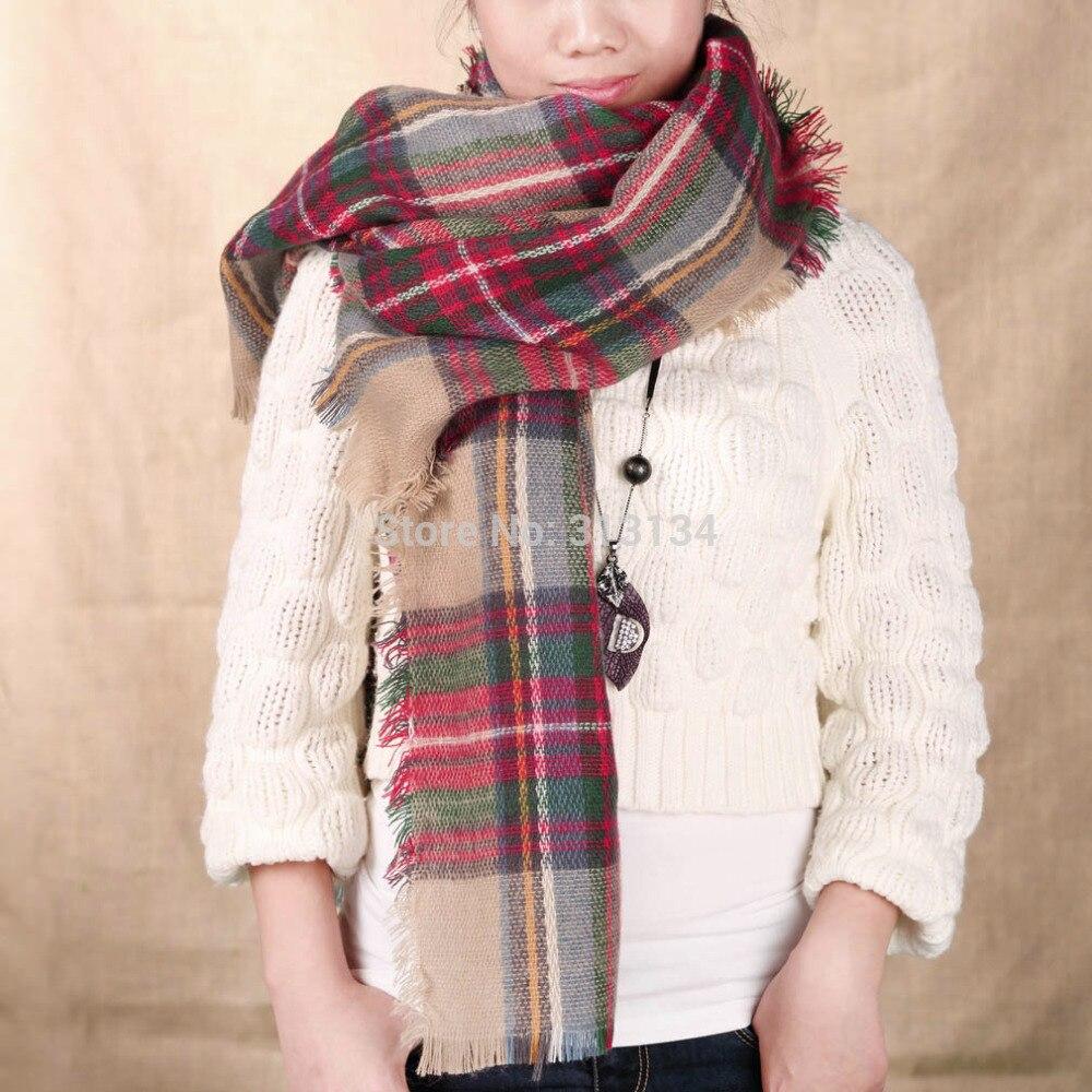 100 Brand New 1pcs scarf plaid designer unisex acrylic basic wrap shawl women female Women Oversized