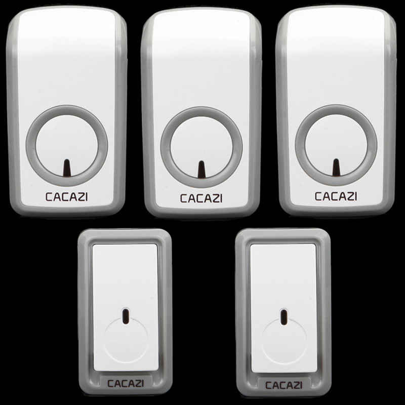 CACAZI 2 doorbell buttons+3 doorbell receivers 350M remote control AC 110-220V Waterproof button elderly pager Wireless doorbell cacazi a9 3 ac 75 250v wireless doorbell 1 waterproof button 3 receivers 52 ringtones 4 volume 300m remote electronic doorbell